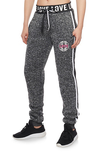 Love Graphic Heavy Knit Joggers,CHARCOAL/BLACK,large