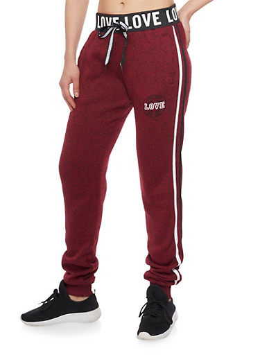 Love Graphic Heavy Knit Joggers,BURGUNDY,large