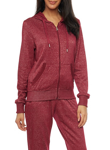 Soft Knit Zip Up Hoodie,BURGUNDY,large