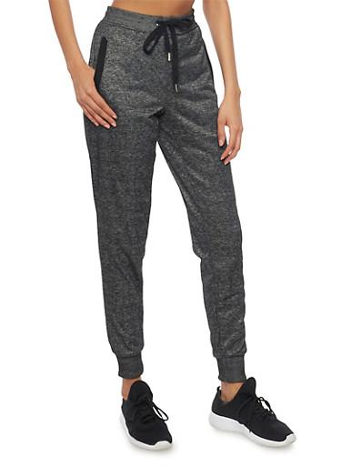 Soft Knit Drawstring Joggers with Three Pockets,BLACK,large