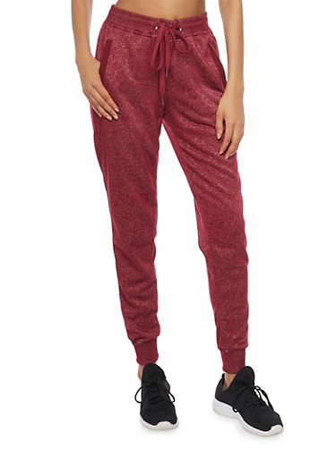 Soft Knit Drawstring Joggers with Three Pockets,BURGUNDY,large