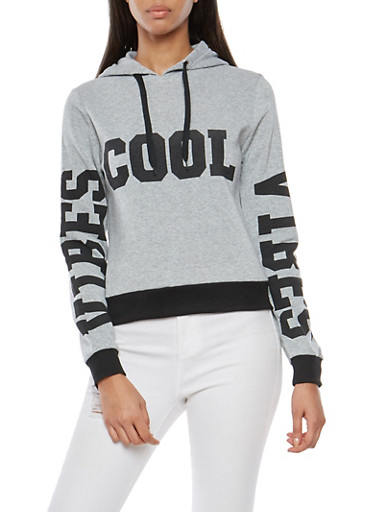 Cool Vibes Graphic Hooded Sweatshirt,HEATHER,large