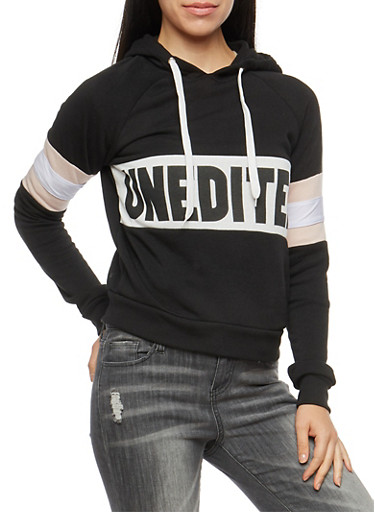 Unedited Graphic Hooded Sweatshirt,BLACK,large