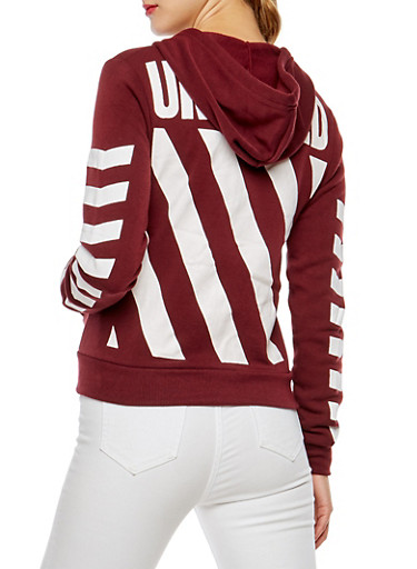 Unedited Graphic Zip Up Hoodie,BURGUNDY,large