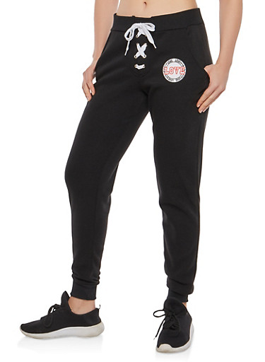 Lace Up Front Love Joggers,BLACK,large