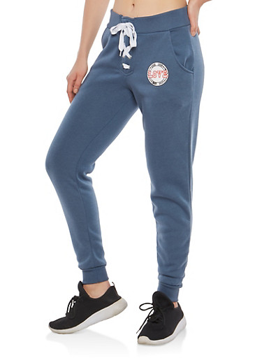 Lace Up Front Love Joggers,SLATE,large