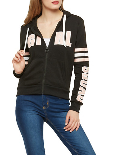 Girl Squad Zip Front Sweatshirt,BLACK,large