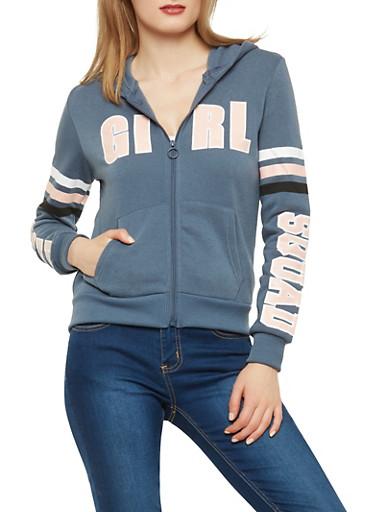 Girl Squad Zip Front Sweatshirt,SLATE,large