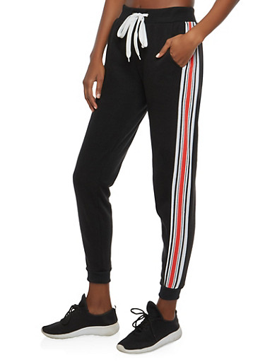 Fleece Lined Side Stripe Sweatpants,BLACK,large