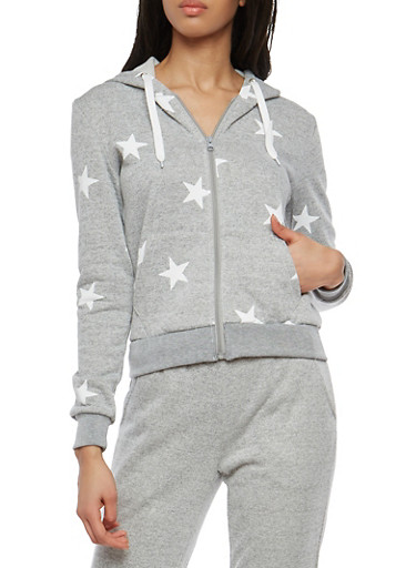 Star Print Zip Up Hooded Sweatshirt,HEATHER,large