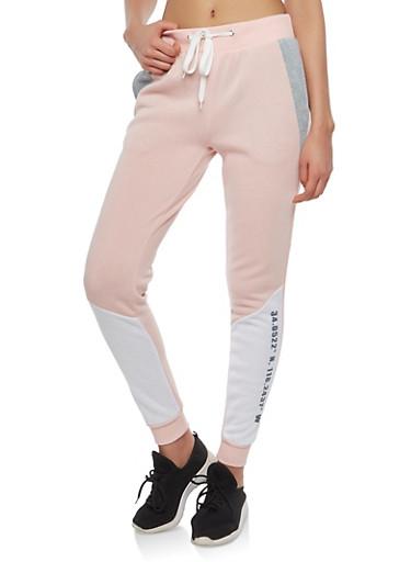 Graphic Color Block Sweatpants,MAUVE,large