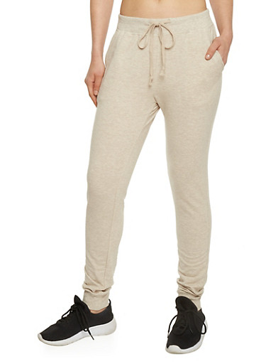 Slim Fit Joggers with Drawstring and Two Pockets,OATMEAL,large