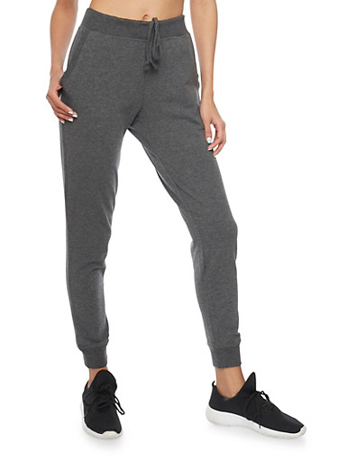 Slim Fit Joggers with Drawstring and Two Pockets,CHARCOAL,large
