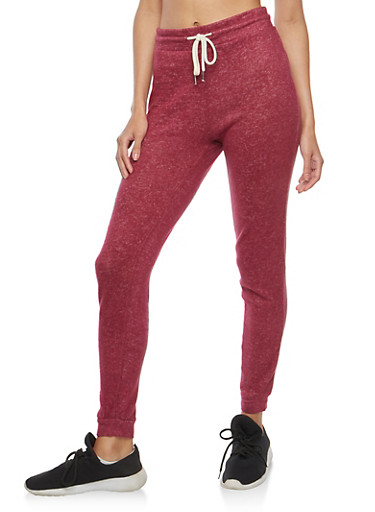 Soft Knit Drawstring Waist Sweatpants,BURGUNDY,large