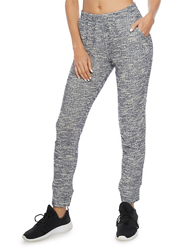 Textured Marled Knit Joggers,NAVY/WHITE,large