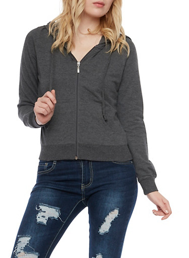 Zip Front Hoodie,CHARCOAL,large
