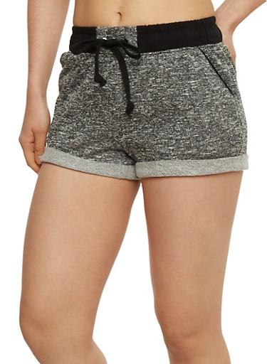 Space Dye Cuffed Drawstring Waist Shorts,BLACK/CHARCOAL,large