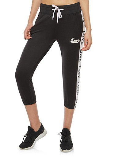 Love Graphic Cropped Sweatpants,BLACK,large