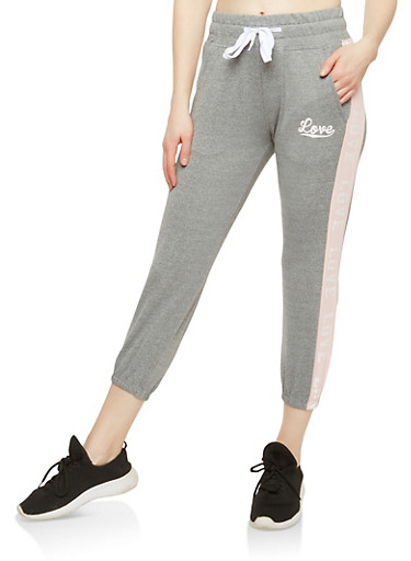 Love Graphic Cropped Sweatpants,HEATHER/BABY PINK,large