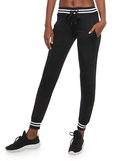 Stripped Trim Sweatpants,BLACK,large