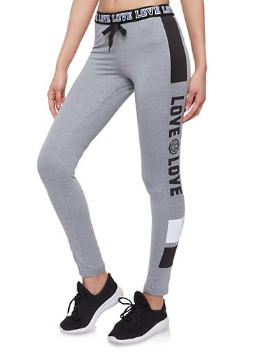 Drawstring Waist Love Graphic Sweatpants,HEATHER/BLACK,large