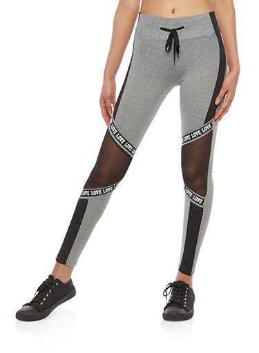 Color Block Graphic Mesh Insert Leggings,HEATHER/BLACK,large