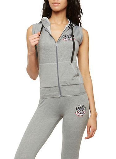 Love Patch Sleeveless Hooded Zip Top,HEATHER,large