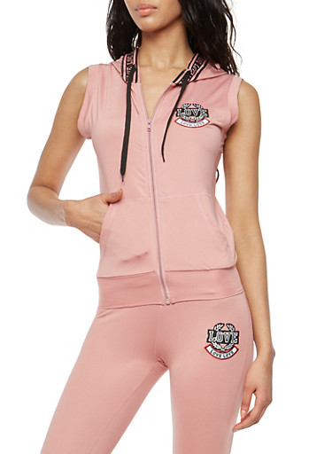 Love Patch Sleeveless Hooded Zip Top,S MAUVE,large