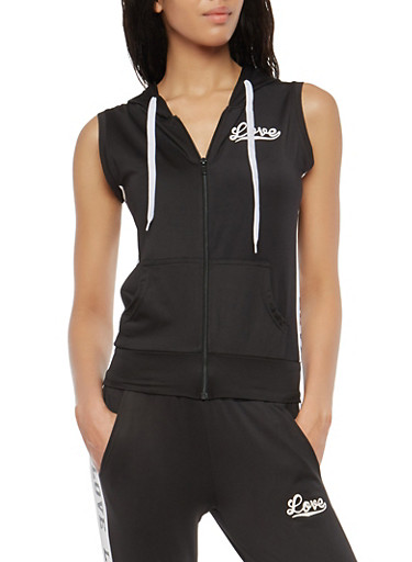 Love Graphic Zip Up Hooded Top,BLACK,large