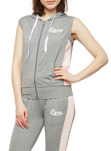 Love Graphic Zip Up Hooded Top,HEATHER/BABY PINK,large