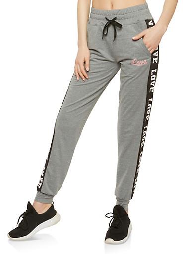 Love Graphic Drawstring Waist Sweatpants,HEATHER/BLACK,large