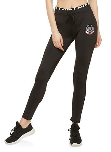 Love Patch Foldover Active Pants,BLACK,large