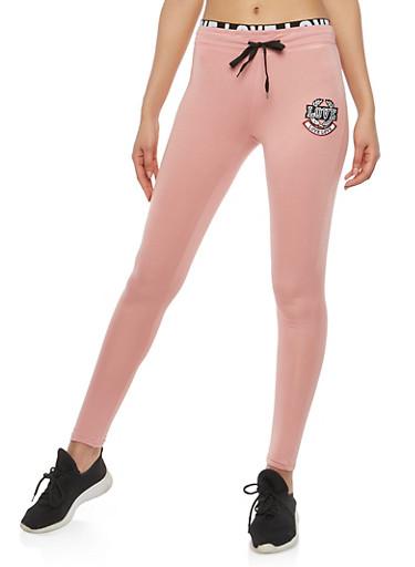 Love Patch Foldover Active Pants,S MAUVE,large