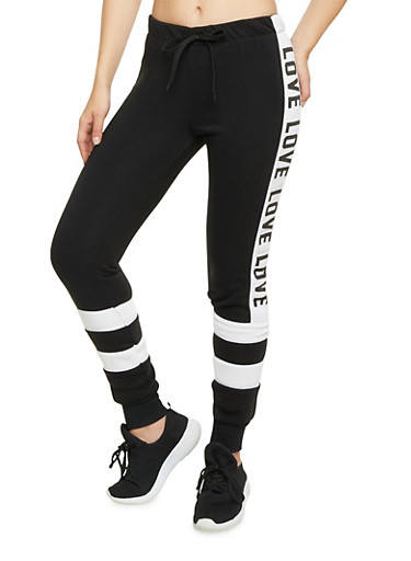 Knit Joggers with Love Print,BLACK,large