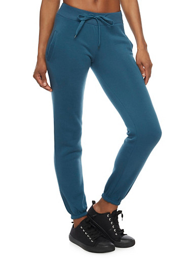 Solid Fleece Joggers,TEAL,large