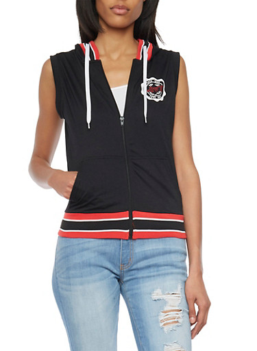 Sleeveless Zip Up Hoodie with Love Graphic,BLACK,large