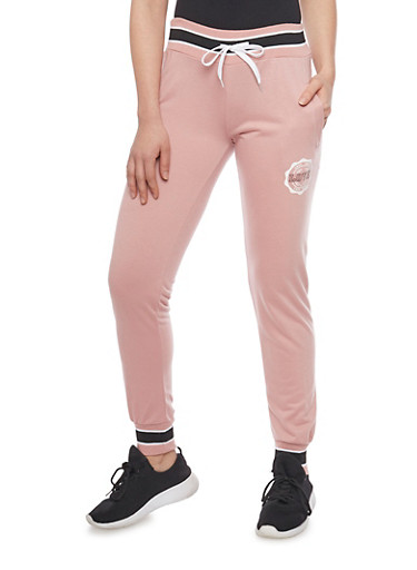 Love Graphic Joggers with Drawstring,MAUVE,large