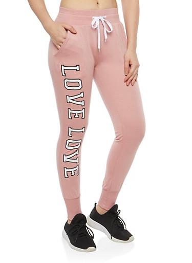 Love Graphic Sweatpants,MAUVE,large