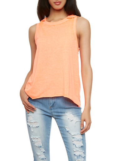 Almost Famous Tank Top with Hood,PEACH,large
