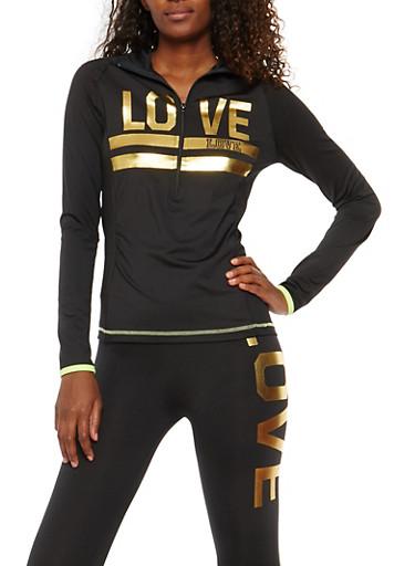 Love Graphic Zip Neck Sweatshirt,BLACK,large