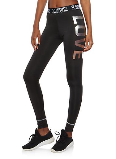 Love Graphic Activewear Leggings,BLACK,large