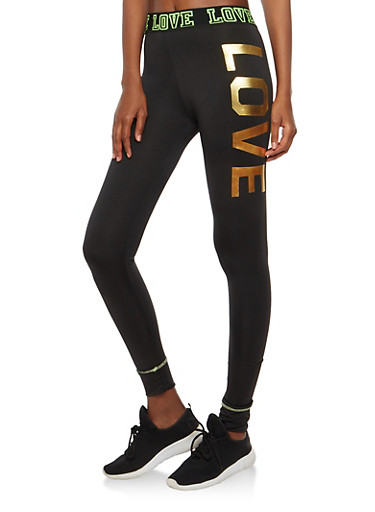 Love Graphic Activewear Leggings,LIME,large