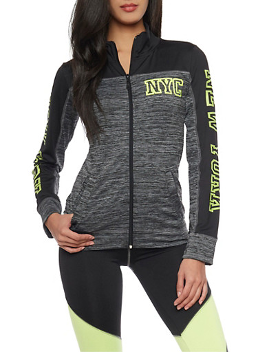 Color Block NYC Printed Zip Up Activewear Jacket,CHARCOAL,large