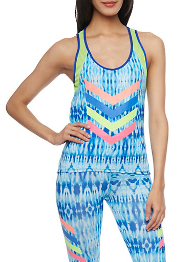 Tie Dye Activewear Tank Top with Open Back and Graphic Chevron Print,BLUE,large
