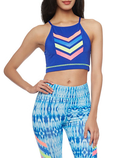 Graphic Chevron Print Activewear Crop Top,BLUE,large
