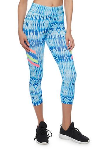 Tie Dye Capri Activewear Leggings with Graphic Chevron Print,BLUE,large