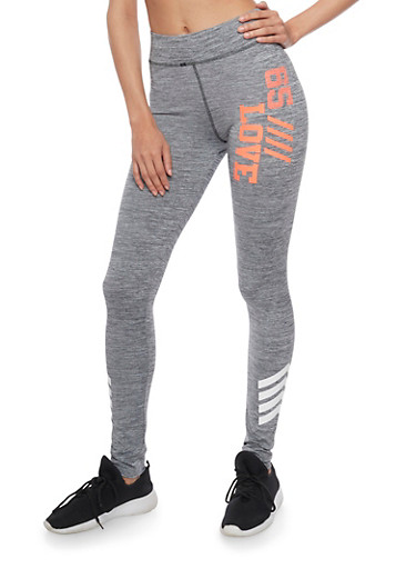 Marled Love Graphic Activewear Leggings,HEATHER/CORAL,large