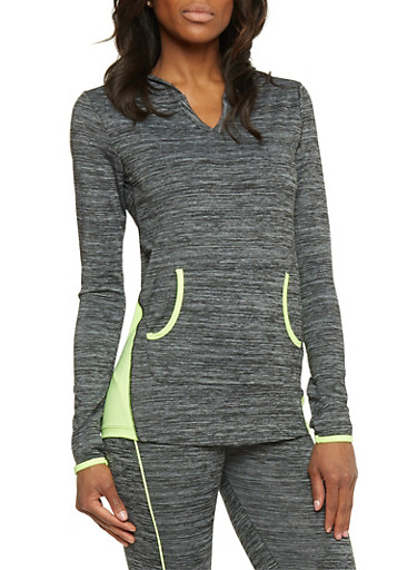 Long Sleeve Hooded Activewear Top,CHARCOAL,large