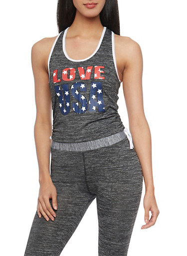Love USA Tank Top with Ruched Sides,HEATHER,large