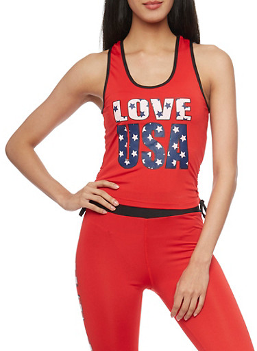 Love USA Tank Top with Ruched Sides,RED,large